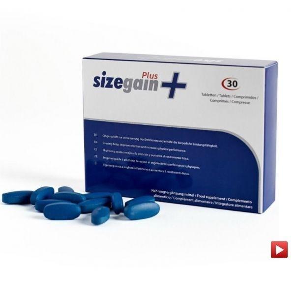 SizeGain Plus (30 cápsulas) - Aumentar tamanho do pénis até 7cm de longo e 25% de grossura