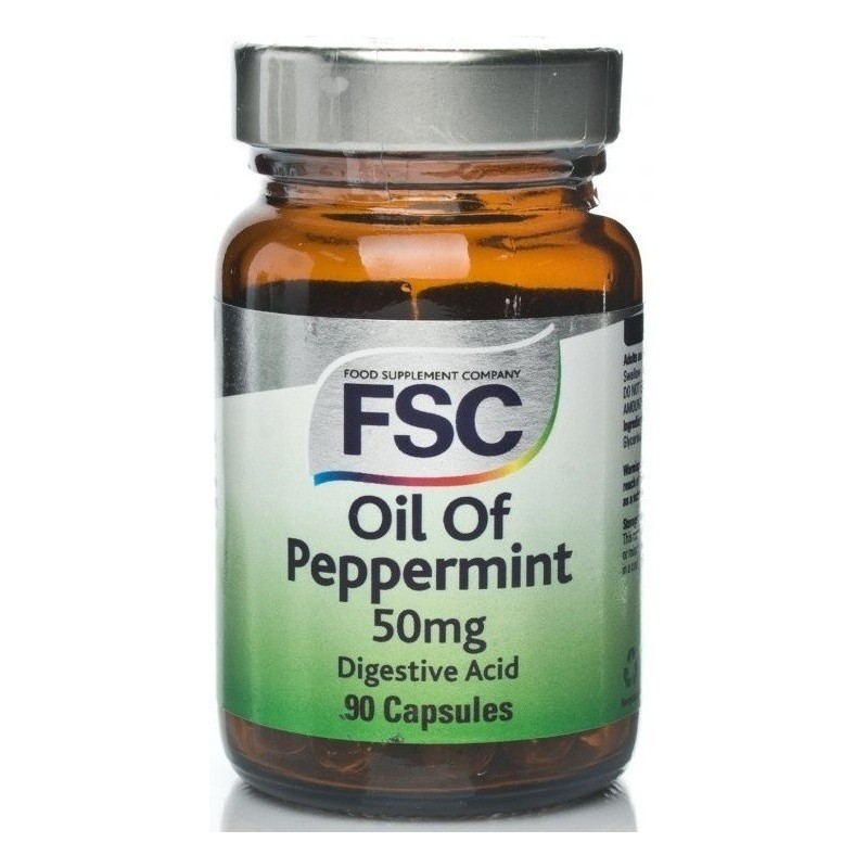 PEPPERMINT OIL OLEO DE HORTELÃ PIMENTA - 90 Cápsulas de 50 mg
